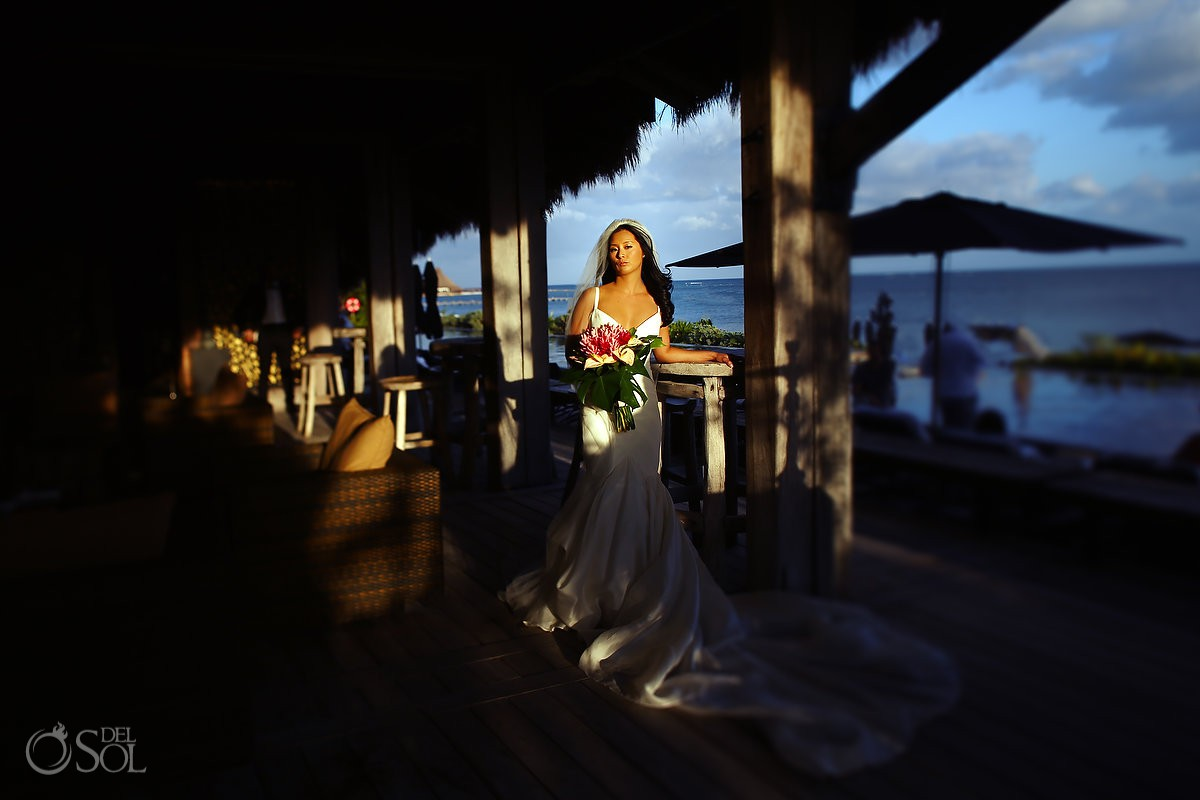 Creative light bride weddding portrait Cancun Elopement Nizuc Resort and Spa Mexico