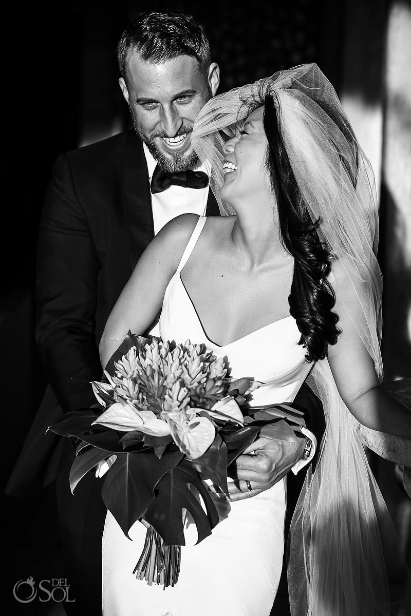 Black an white wedding photography Cancun Elopement Nizuc Resort and Spa Mexico