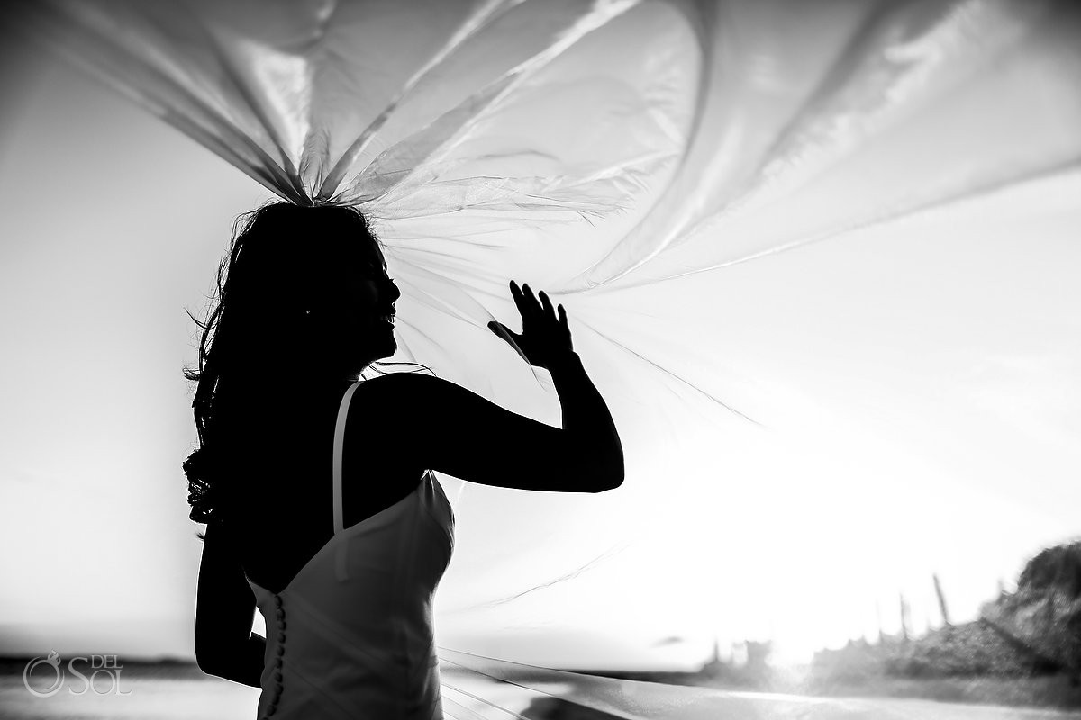 Vail bride silhouette Cancun Elopement Nizuc Resort and Spa Mexico