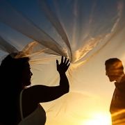 Amazing bride and groom silhouette Cancun Elopement Nizuc Resort and Spa Mexico