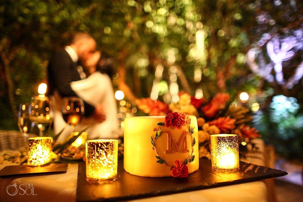 Wedding cake bride and groom candle love Cancun Elopement Nizuc Resort and Spa Mexico