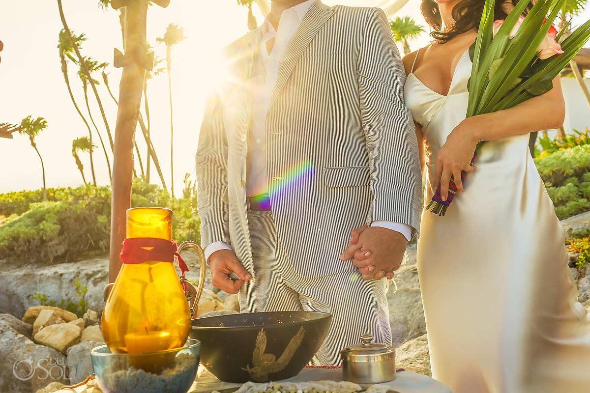 A Tulum Elopement ceremony details at Mi Amor hotel Riviera Maya Mexico.
