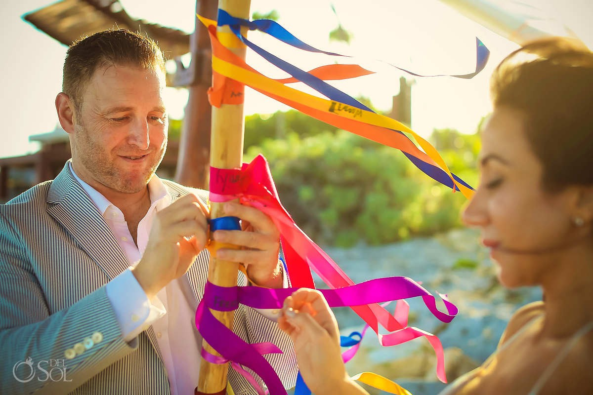 A Tulum Elopement ribbon alternative unity ceremony ideas