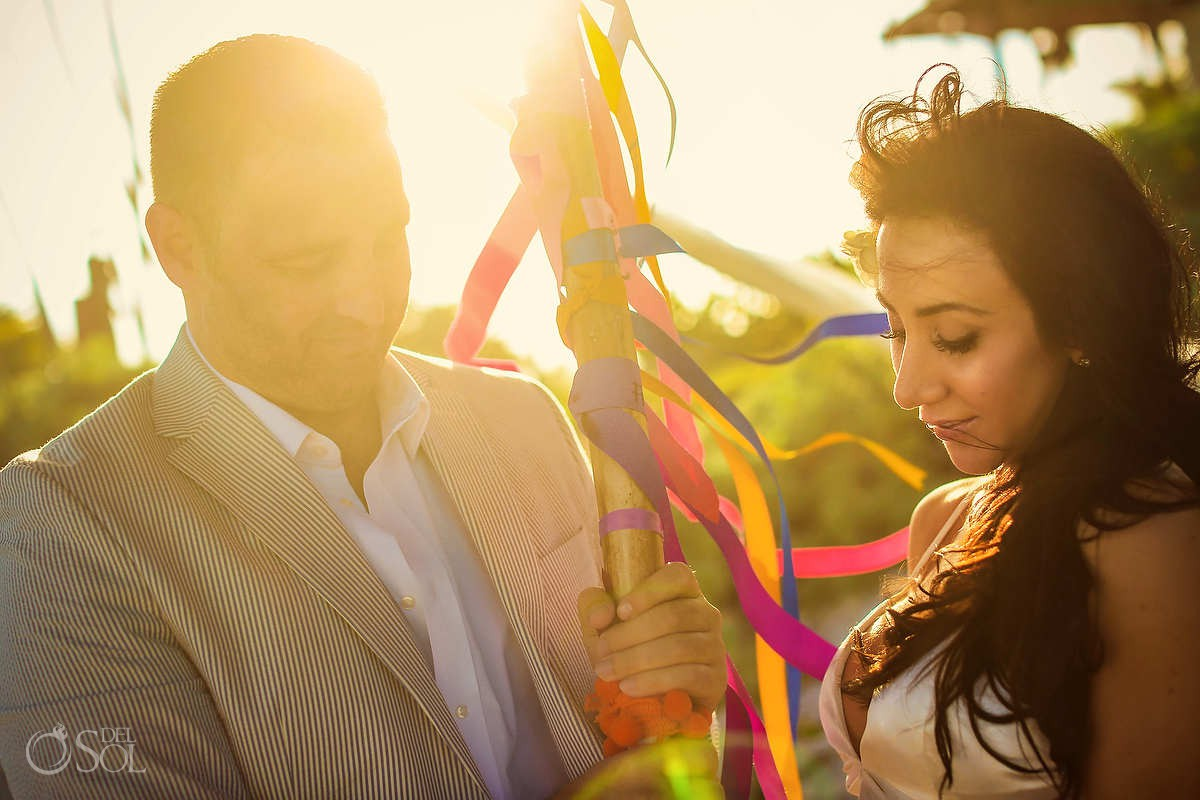 unity ribbon ceremony beautiful light and love tulum elopement