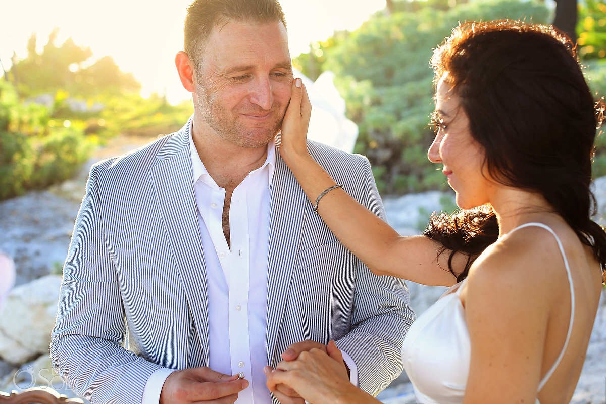 groom's face tulum elopement ceremony