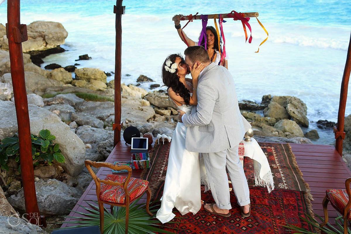 Tulum elopement first kiss