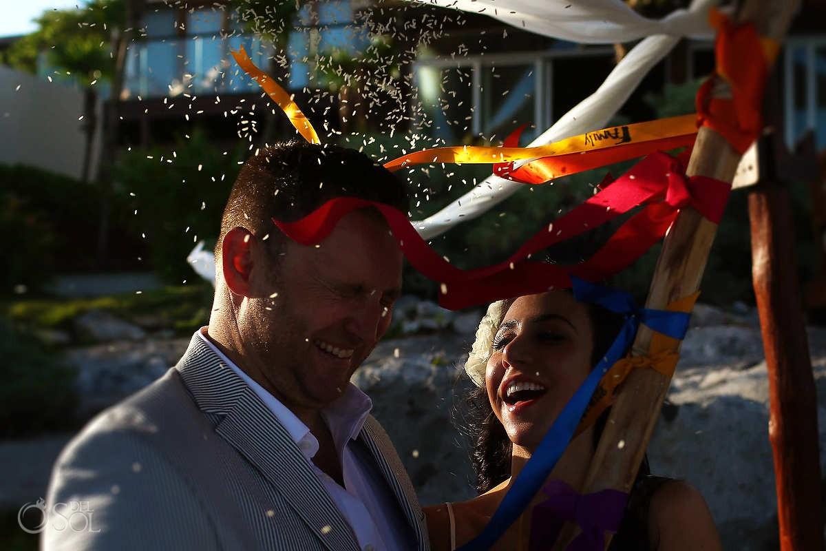 tulum mexico elopement rice ceremony
