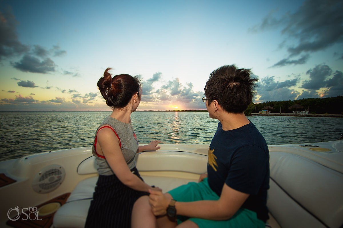 sunset boat cruise engagement surprise proposal Cancun Mexico.