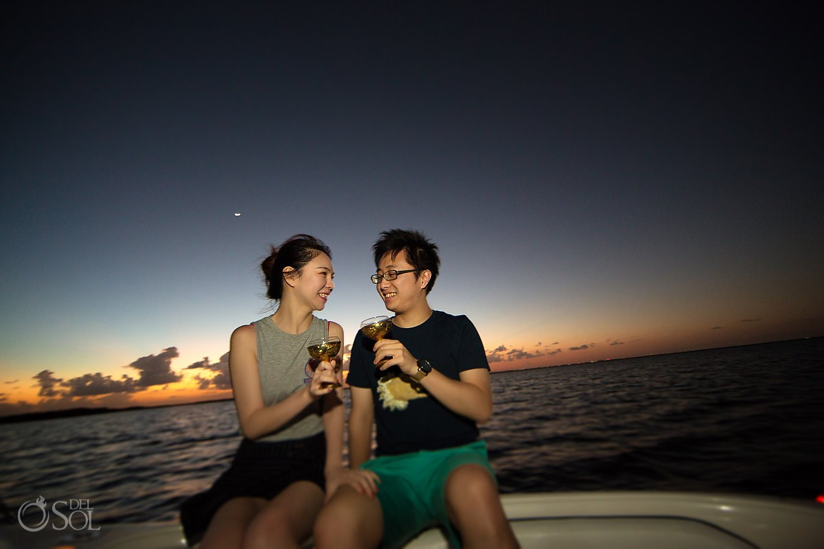 Cancun marriage proposal sunset boat cruise engagement Mexico.