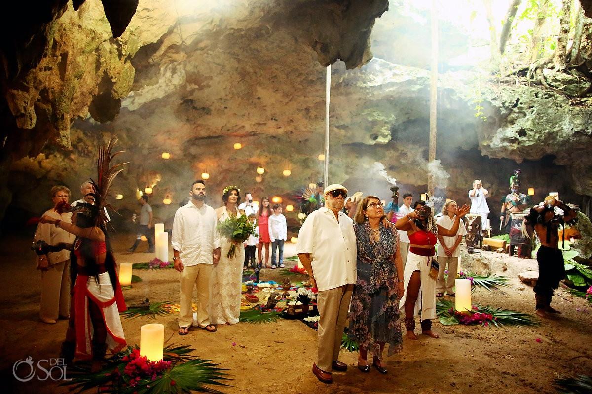 Destination wedding venue ideas Special 20 year vow renewal cenote Mayan ceremony Riviera Maya Mexico