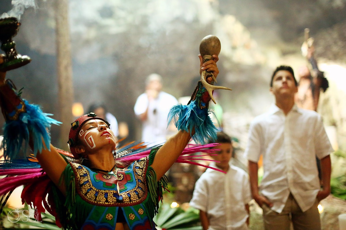Mayan dancer destination wedding Special 20 year vow renewal cenote ceremony Riviera Maya Mexico