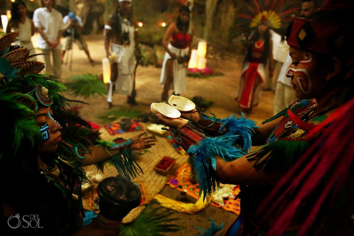 Mayan ceremony cenote Riviera Maya Mexico