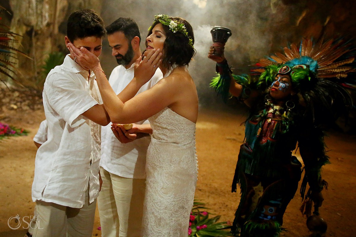 Mother and son love Special 20 year vow renewal cenote Mayan ceremony Riviera Maya Mexico