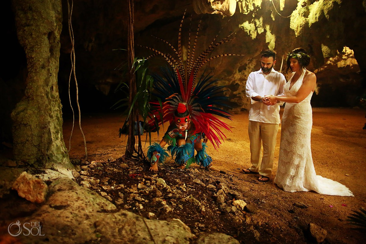 Special 20 year vow renewal cenote Mayan ceremony Riviera Maya Mexico