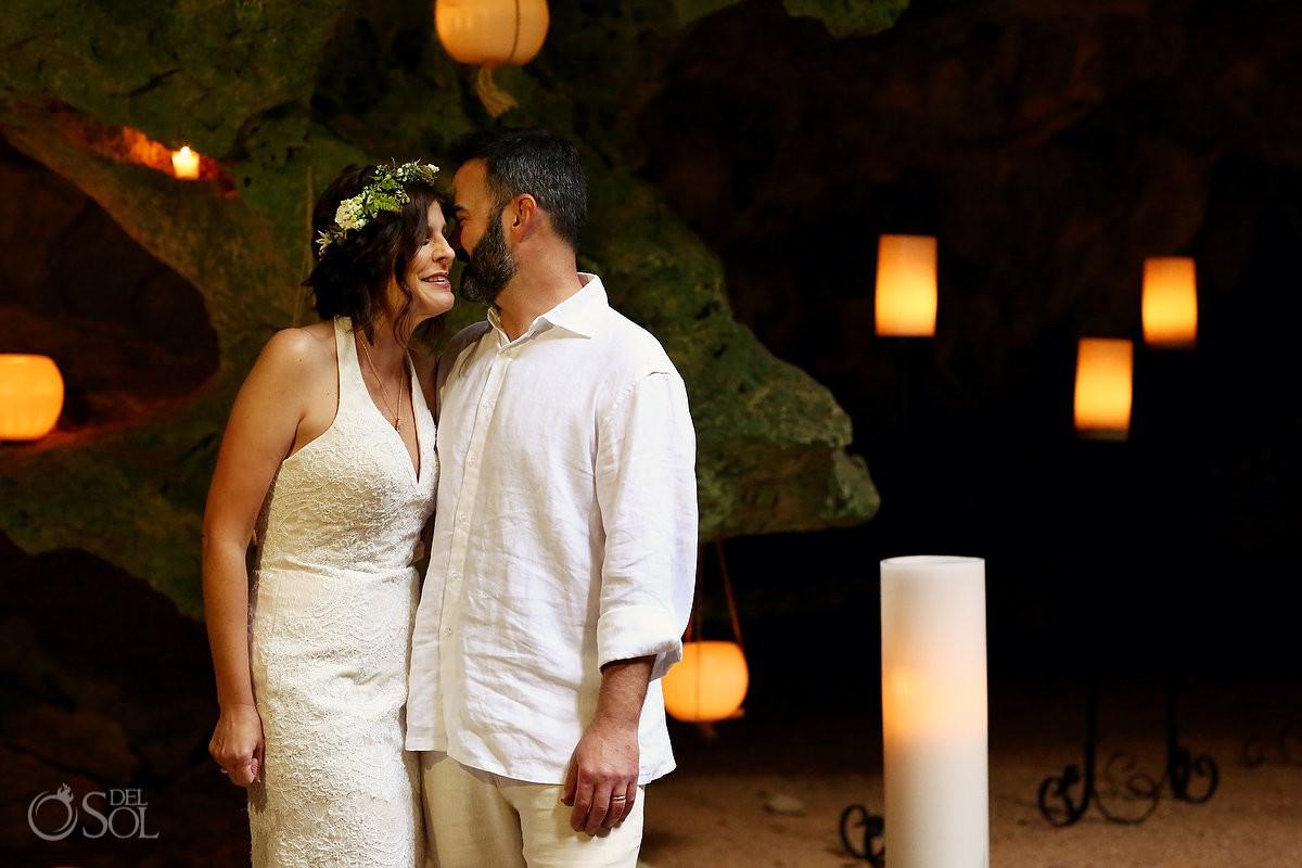 Bride and groom wedding portrait Special 20 year vow renewal cenote Mayan ceremony Riviera Maya Mexico