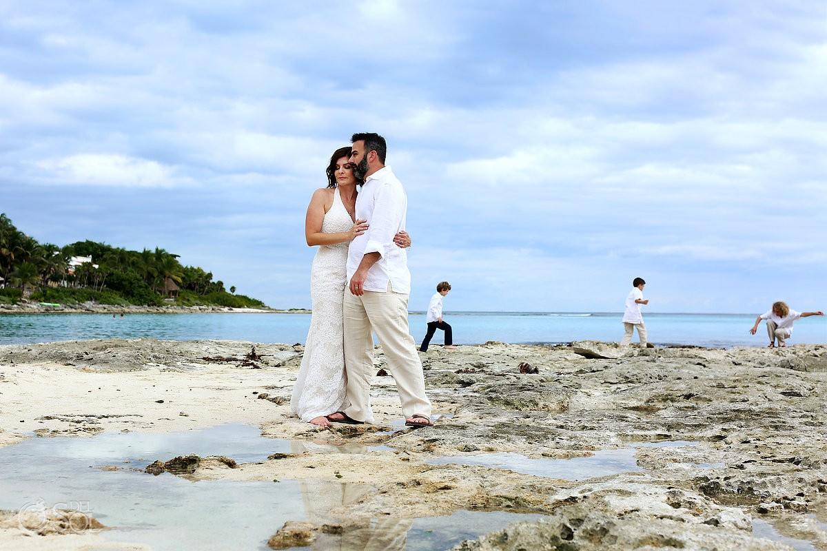 Bride and groom beach vow renewal portraits Riviera Maya Mexico