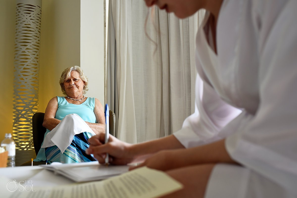 Bride writing vows grandma family love Finest Playa Mujeres Wedding Stone Gazebo Ceremony Cancun
