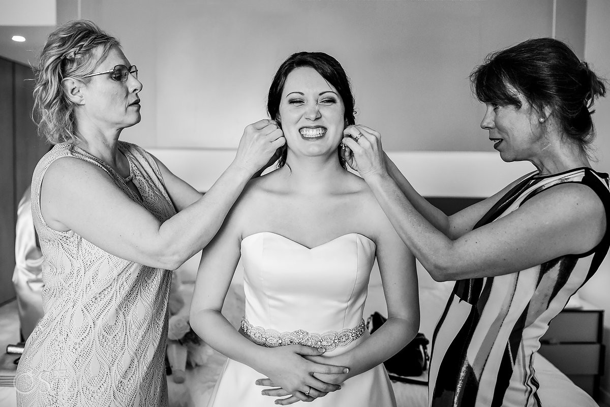 bride getting ready mom and groom's mother Finest Playa Mujeres Wedding Stone Gazebo Ceremony Cancun