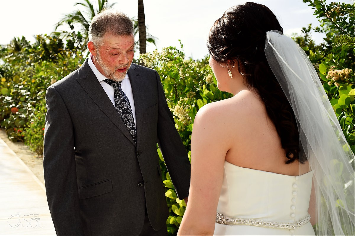 Bride and father first look Finest Playa Mujeres Wedding Stone Gazebo Ceremony Cancun