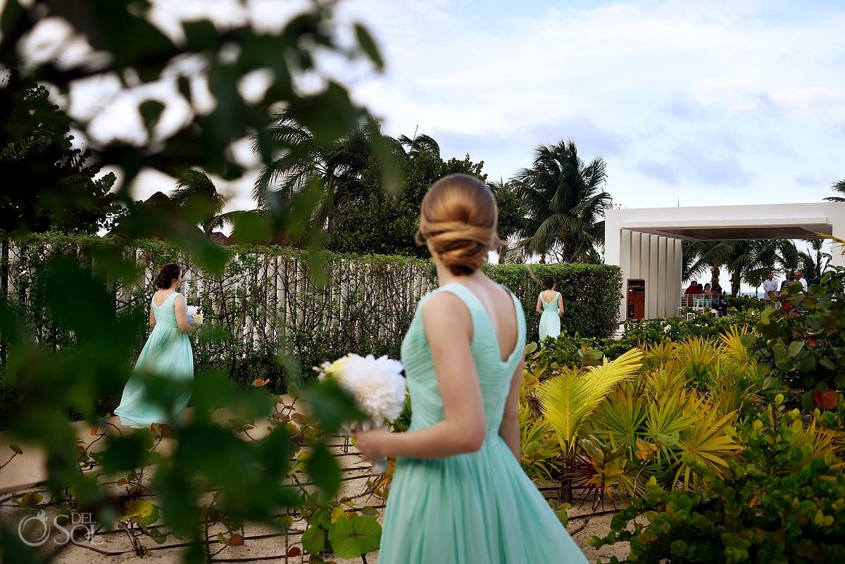 Bridemaids wedding entrance Finest Playa Mujeres Wedding Stone Gazebo Ceremony Cancun