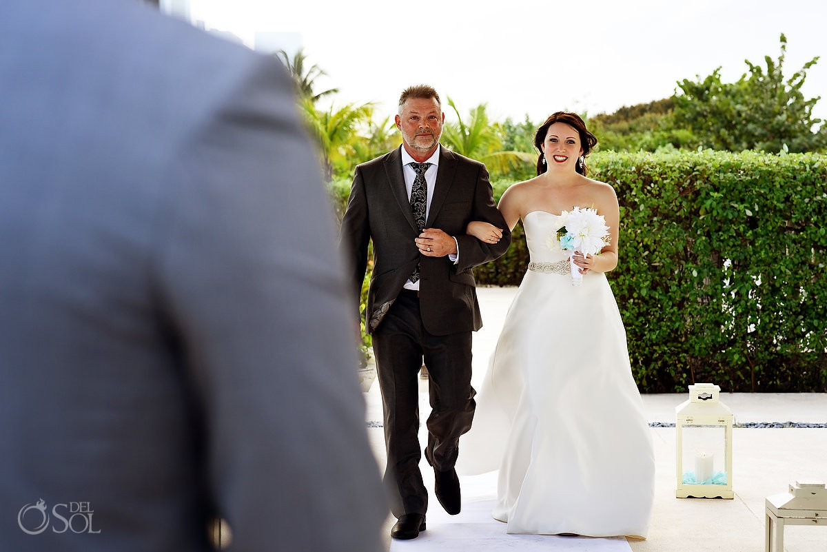 Father giving away bride Finest Playa Mujeres Wedding Stone Gazebo Ceremony Cancun