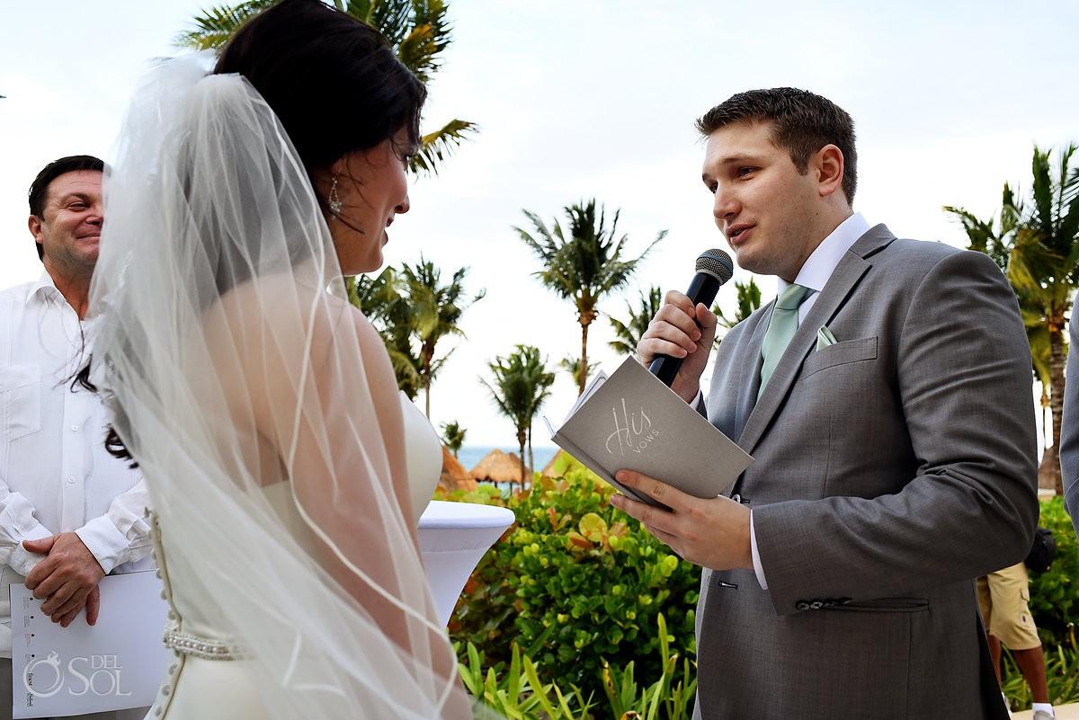 Groom vows Finest Playa Mujeres Wedding Stone Gazebo Ceremony Cancun
