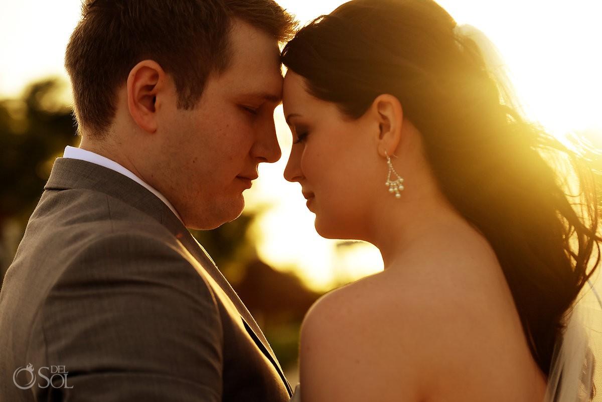 Bride and groom wedding portrait sunset time Finest Playa Mujeres Wedding Stone Gazebo Ceremony Cancun