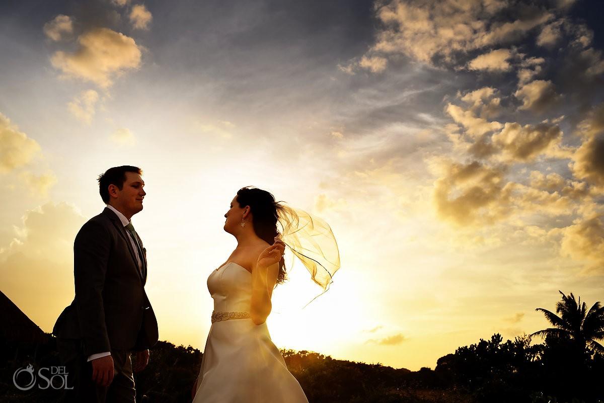 Best sunset wedding portraits Finest Playa Mujeres Wedding