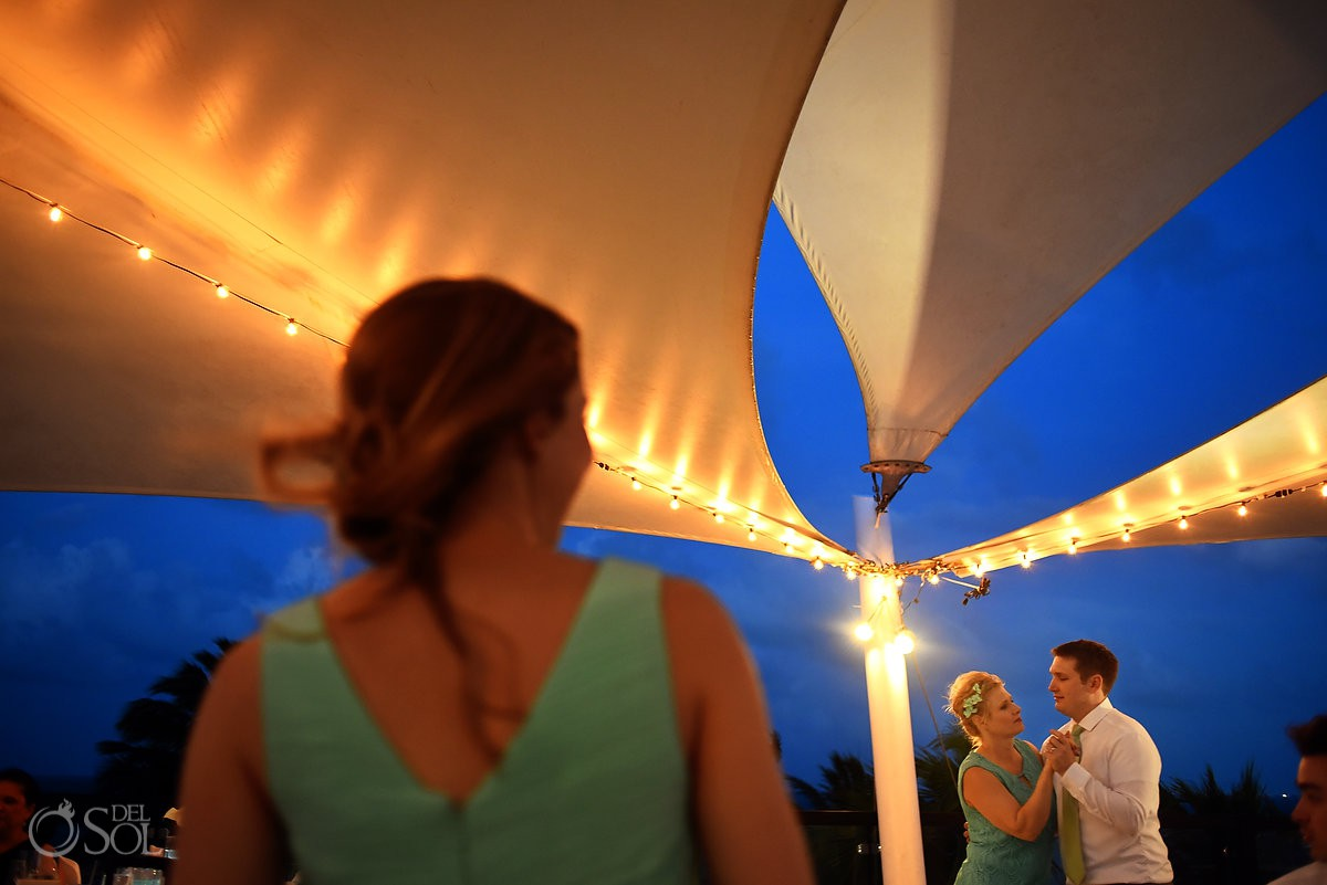 Mother and groom first dance Finest Playa Mujeres Wedding Stone Gazebo Ceremony Cancun