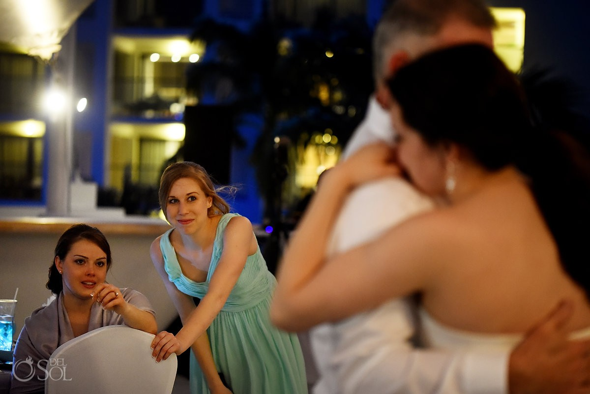 Father and daughter first dance Finest Playa Mujeres Wedding Stone Gazebo Ceremony Cancun