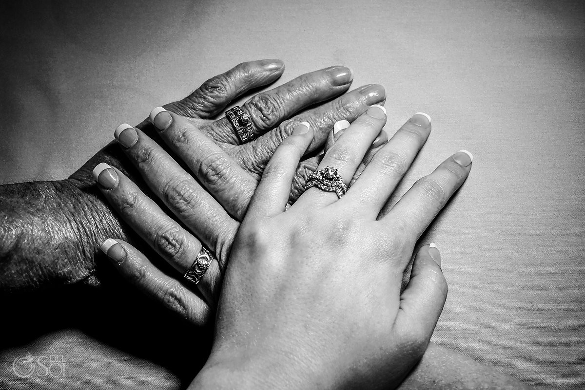 Black and white wedding ring generation hands photography Finest Playa Mujeres Wedding
