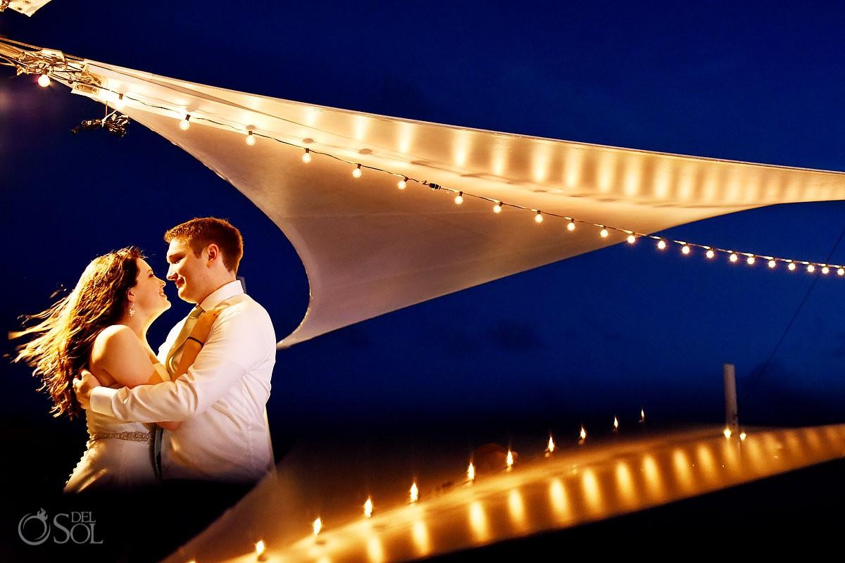 Bride and groom creative reception wedding portrait Finest Playa Mujeres Wedding Cancun