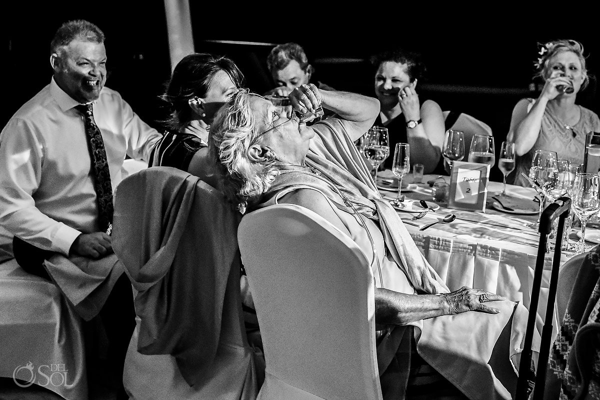 Grandmother tequila shot wedding reception fun wedding moments Finest Playa Mujeres Cancun