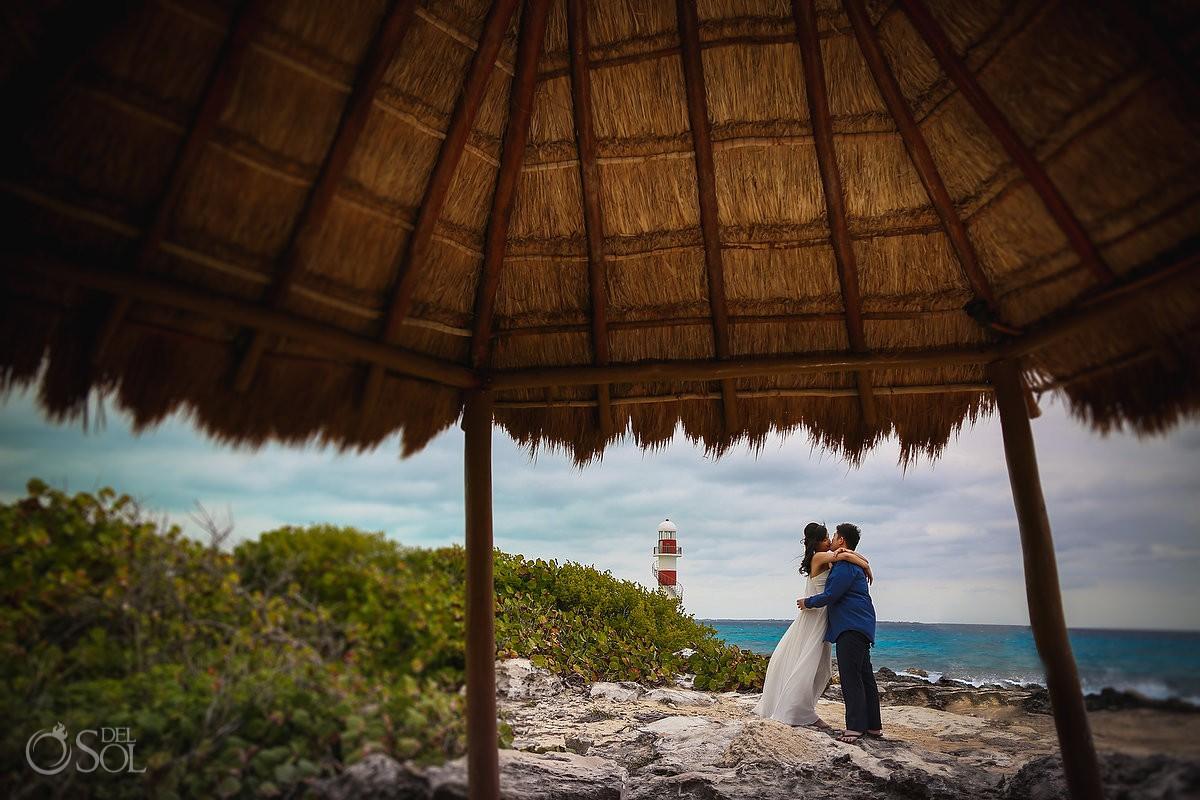 Bride and groom engagement portraits Hyatt Ziva Cancun Mexico.
