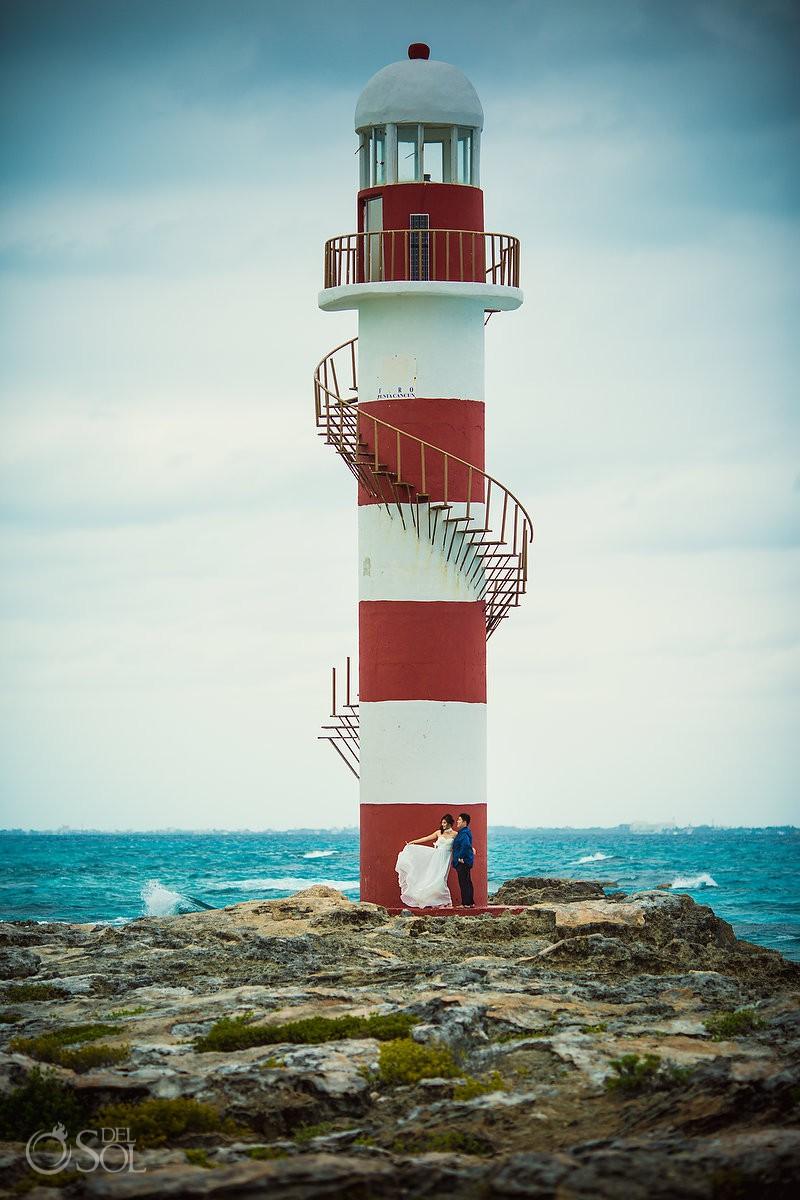 Hyatt Ziva Engagement Photo Session lighthouse Cancun Mexico.