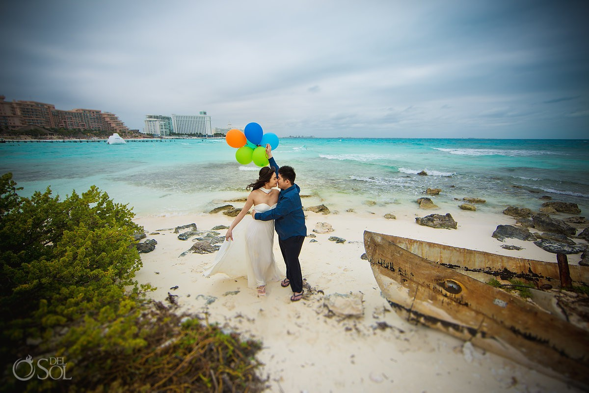 Hyatt Ziva Save the Date engagement Photography Cancun Mexico.