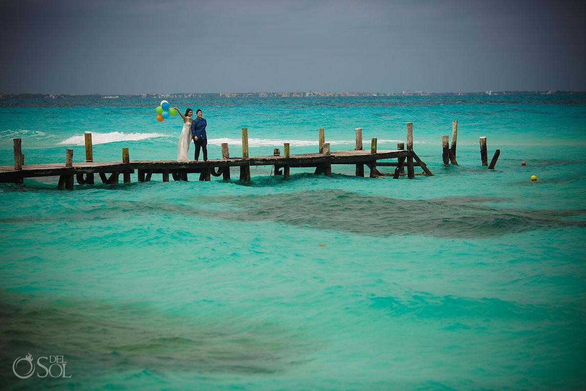 Hyatt Ziva Save the Date Beach Engagement Photography Cancun Mexico.