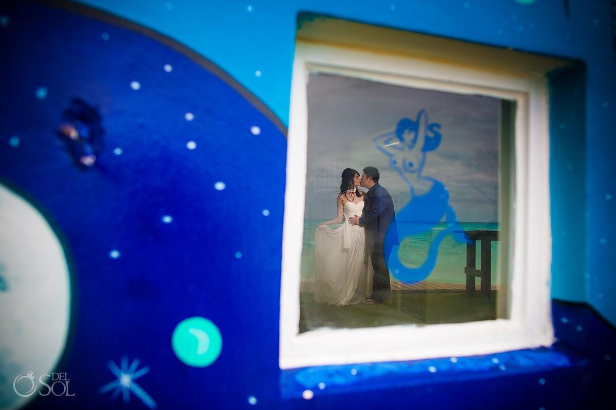 Hyatt Ziva Save the Date Engagement mermaid love Cancun Mexico.