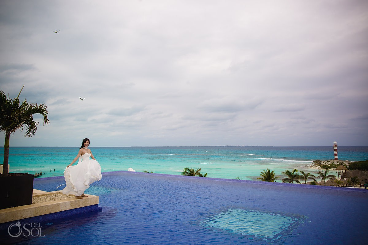 Bride to be portrait Hyatt Ziva Beach Destinations Cancun Mexico.