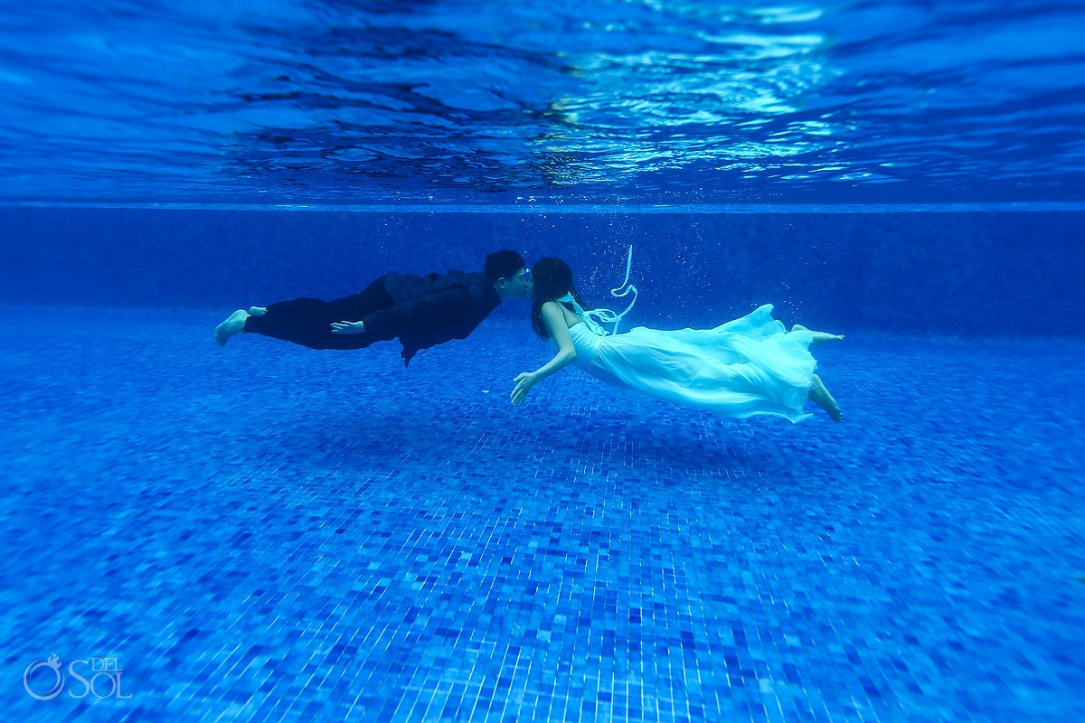 Hyat Ziva Save the Date Engagement Underwater Photography Cancun Mexico.