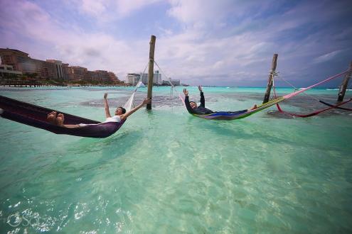 Hyatt Ziva Save the Date Engagement Photography Beach Destinations Cancun Mexico.