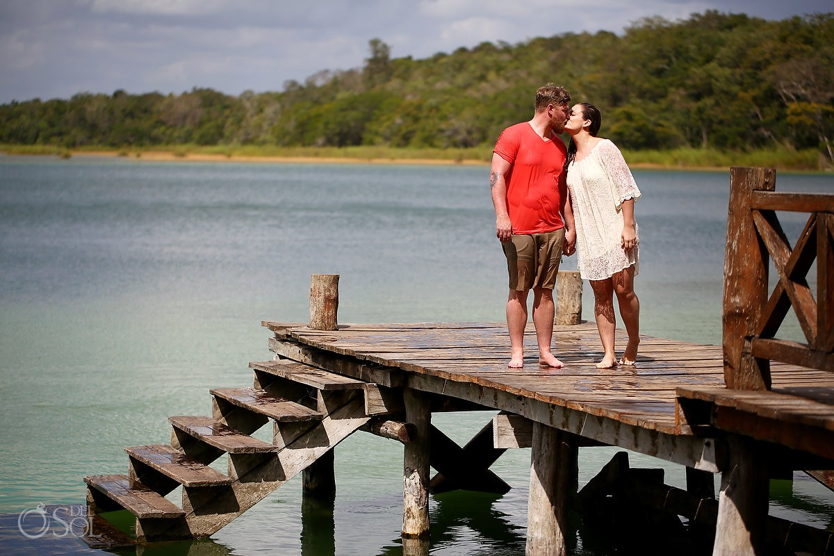 Couple enjoying in nature Mexico honeymoon photography trash the dress Riviera Maya Mexico.