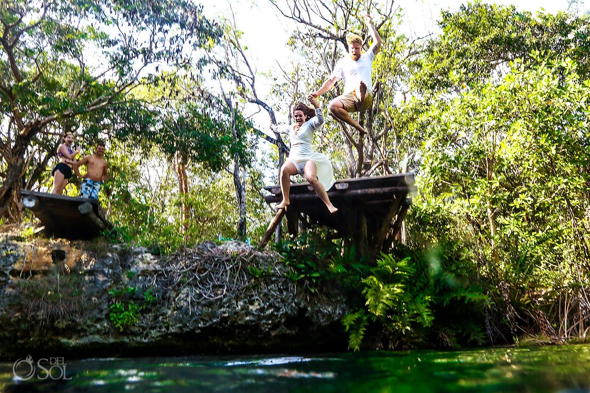 Mexico Honeymoon Photography jumping into cenotes