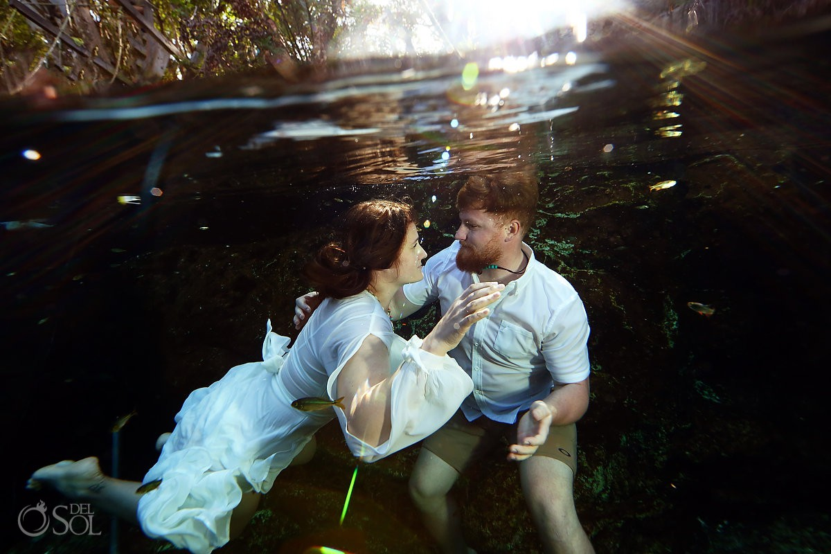 Mexico Honeymoon Photography underwater trash the dress in cenotes
