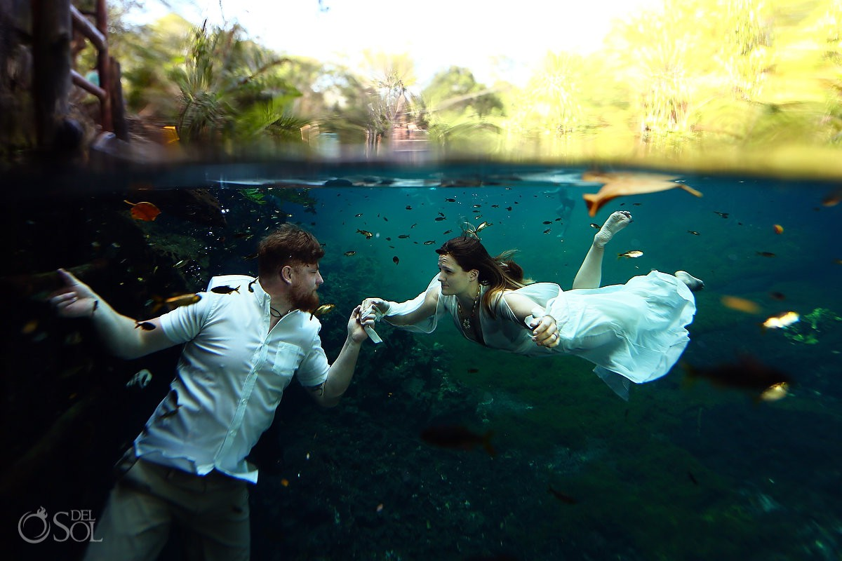 bride and groom honeymoon photography trash the dress Riviera Maya Mexico