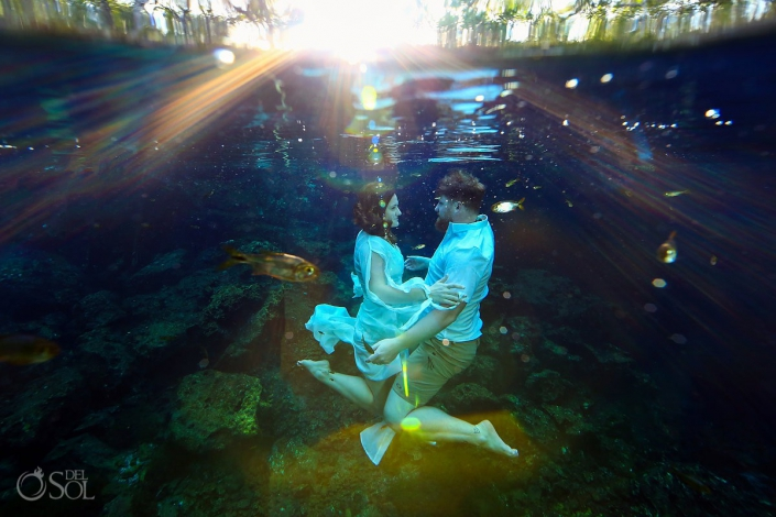 Mexico Honeymoon Photography underwater trash the dress photo