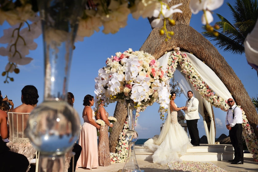 Dreams Riviera Cancun Gazebo with amazing wedding flowers Blossom Cancun
