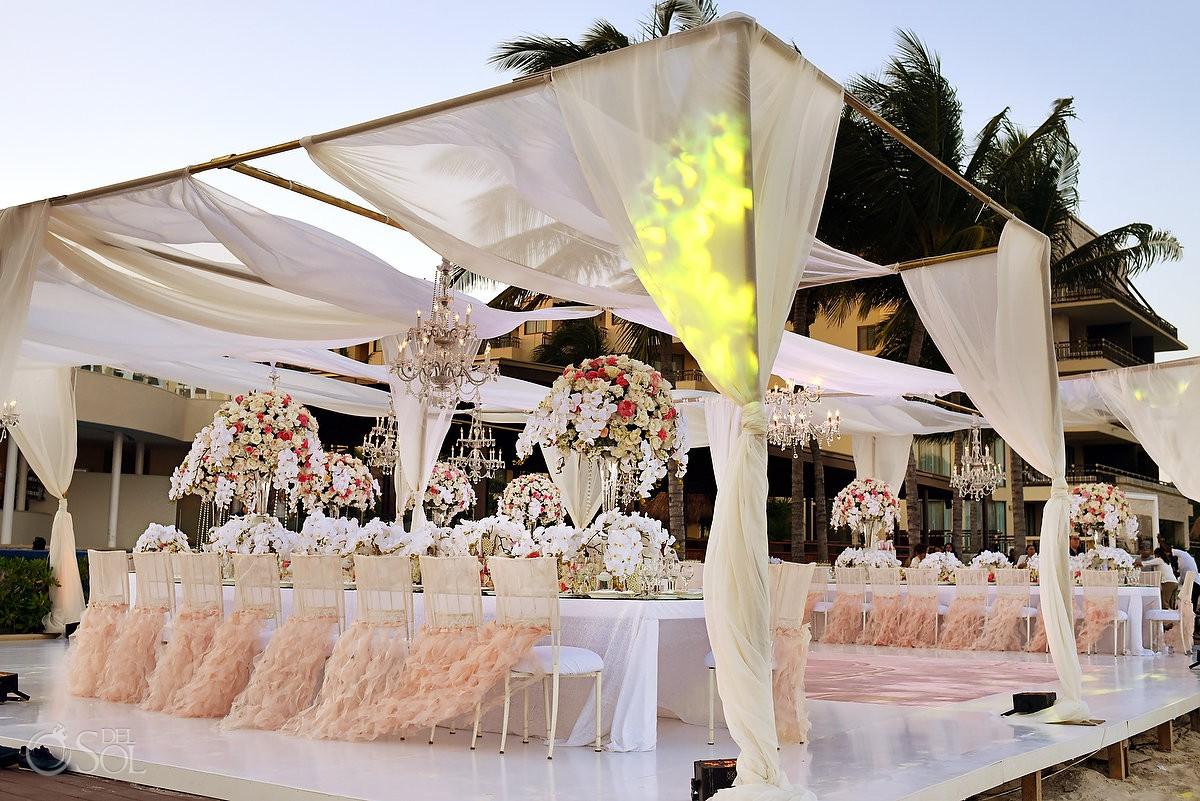 Amazing Wedding Flowers Destination wedding reception Dreams Riviera Cancun Terrace