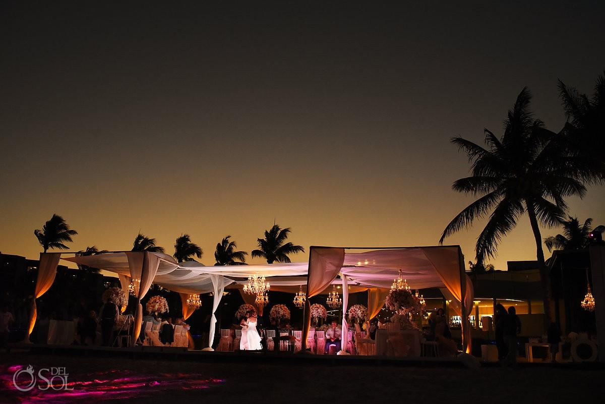 Sunset Destination wedding reception Dreams Riviera Cancun Terrace