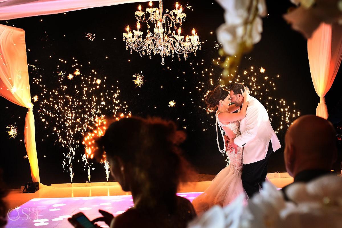 First dance cold fireworks Destination wedding reception Dreams Riviera Cancun Terrace